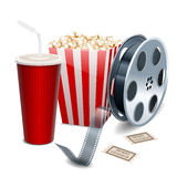 Movie showing with Popcorn, film reel and drinks Royalty Free Stock Photography