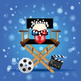 Movie sign with icon set  entertainment illustration. In colorful Royalty Free Stock Photography