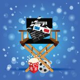 Movie sign with icon set illustration. In colorful Royalty Free Stock Photos