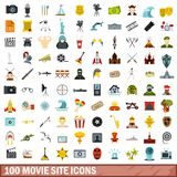 100 movie site icons set, flat style. 100 movie site icons set in flat style for any design vector illustration Royalty Free Illustration