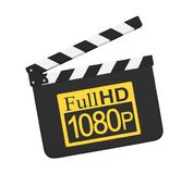 Movie Slate with Full HD 1080p Icon Isolated. On white background. 3D render Royalty Free Stock Photo
