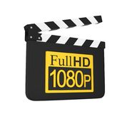 Movie Slate with Full HD 1080p Icon Isolated. On white background. 3D render Stock Photos