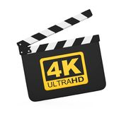 Movie Slate with 4K Ultra HD Icon Isolated. On white background. 3D render Stock Photo