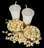 Movie Snack. Two bowls of popcorn and two soft drinks ready for the movies Royalty Free Stock Photo