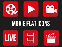 Movie square icons set Stock Photography
