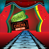 Movie stage and tickets royalty free stock photo