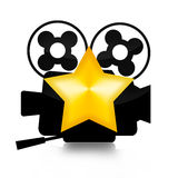 Movie Star. Retro film camera and golden star illustration   on white background Royalty Free Stock Photography