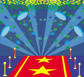 Movie star symbol on a red carpet representing Hollywood premier stock illustration