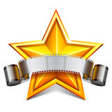 Movie star. Movie tape and golden star Stock Images