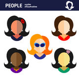 Movie star woman on white background flat vector icon Royalty Free Stock Photo