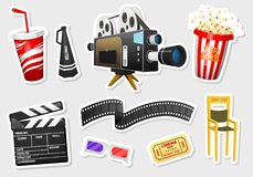 Movie stickers. Vintage cinema, entertainment and recreation with popcorn. Retro poster background. Clapperboard and. Camera, Filmmaking and video cassette Royalty Free Stock Image