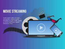 Movie streaming concept illustration design template. Movie streaming concept. Ready to use . Suitable for background, wallpaper, landing page, web, banner and royalty free illustration