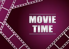Movie strip on pink background. Vector background Stock Image