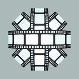 Movie strip sphere 3D design isolated. On white illustration Royalty Free Stock Photos