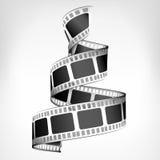 Movie strip spiral 3D design. On white illustration Stock Photos