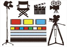 Movie symbol icon set . Movie & film light, camera, director chair set Stock Photos