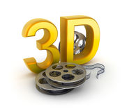 Movie tape and 3D sign. Concept  on white Royalty Free Stock Photos