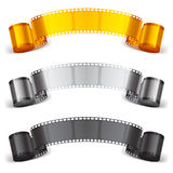 Movie tape. Three scrolls of color movie tapes Royalty Free Stock Photography