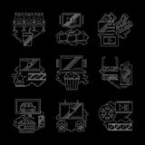 Movie technology detailed white line icons. Contemporary movie technology, modern cinema. Equipment and accessories for watching film. Set of detailed flat white Stock Photo