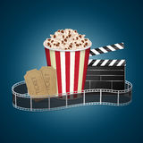 Movie template. Abstract movie template. Cinema concept with popcorn, reel and film clapper. EPS10 vector Royalty Free Stock Photography