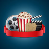 Movie template. Abstract movie template. Cinema concept with popcorn, reel, film clapper and vintage ticket. EPS10 vector Royalty Free Stock Photography