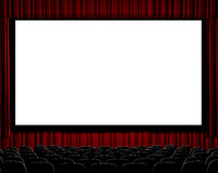 Movie Theater. A movie theater showing blank screen from straight on shot Stock Photo