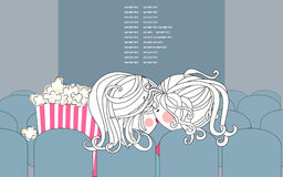 Movie theater. Vector illustration of two lovers in a movie theater Royalty Free Stock Image