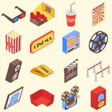 Movie theater accessories and gadgets in isometric style design. Vector flat 3d icons.  Royalty Free Stock Photography