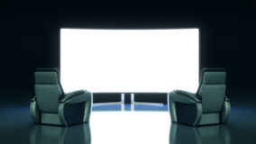 Movie Theater with blank screen. 3d rendering Royalty Free Stock Photos