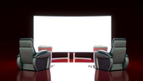 Movie Theater with blank screen. 3d rendering Stock Images