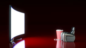 Movie Theater with blank screen. 3d rendering Royalty Free Stock Photo