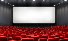 Movie Theater With Blank Screen And Red Seats. Cinema Royalty Free Stock Photos