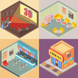 Movie theater building in isometric style design. Vector flat 3d icons. Interior of cinema, cafe, ticket office Stock Photos