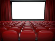 Movie theater with cinema blank screen and rows of red seats. Royalty Free Stock Photo