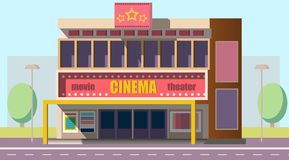 Mobile theater building flat vector illustration royalty free illustration