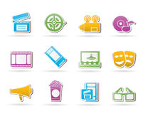 Movie theater and cinema icons stock illustration