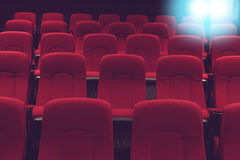 Movie theater empty auditorium with red seats Stock Image