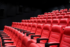 Movie theater empty auditorium with seats Stock Photo