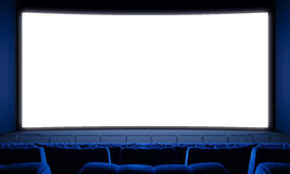 Movie theater with empty seats and big white screen. 3d render. Movie theater with empty seats and big white screen Royalty Free Stock Images