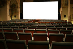Movie Theater. Empty and White Visual Screen stock photos