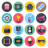 Movie and Theater Flat Icon Set. Flat style with long shadows, movie and theater themed vector illustrations. Circle icon set Stock Images
