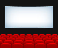 Movie theater hall. Rows of Red Seats and a Screen Royalty Free Stock Photos