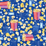 Movie Theater Popcorn Seamless Pattern. Movie Theater Popcorn, Soda, & Tickets Seamless Repeat Pattern Vector Illustration Royalty Free Stock Photography
