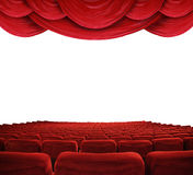 Movie theater with red curtains. Classic cinema with red seats Stock Photography