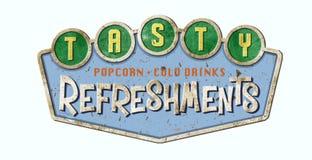 Movie Refreshments Sign Retro. Movie Theater Refreshments Sign Drive-In Popcorn Cold Drinks Metal Tin Retro 50`s Stock Photo