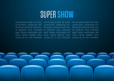 Movie theater with row of blue seats. Premiere event template. Super Show design. Presentation concept with place for text Stock Photos