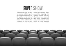 Movie theater with row of gray seats. Premiere event template. Super Show design. Presentation concept with place for. Text Royalty Free Stock Photos