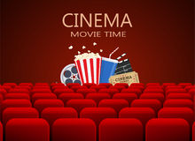 Movie theater with row of red seats. Clapperboard, soda and popcorn and ticket movie. Movie cinema premiere poster design Royalty Free Stock Photography