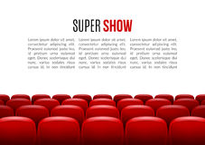 Movie theater with row of red seats. Premiere event template. Super Show design. Presentation concept with place for. Text Stock Photos