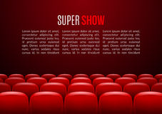 Movie theater with row of red seats. Premiere event template. Super Show design. Presentation concept with place for. Text Royalty Free Stock Image